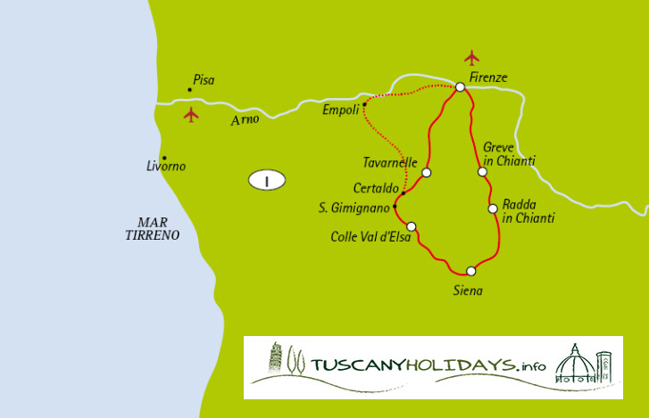 Cycling Chianti Bike Tour - Map of the Itinerary